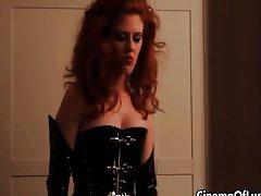 Kinky lesbian redhead abusing her sexy