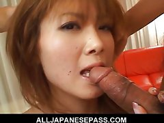 Cute and sassy Rika Sakurai gives a blowjob
