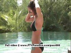 Isabela stunning busty brunette girl naked in the pool