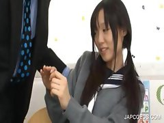 Japanese schoolgirl sucking cock