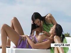 2 Beauty Teens Toying Kissing and Licking