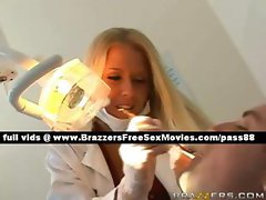 Sweet blonde dentist works on a pacient