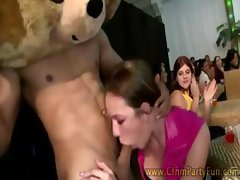Cfnm sluts get some tight stripper action to handle