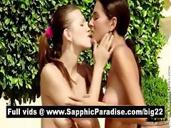 Sexy brunette lesbians licking and fingering pussy and having lesbian sex