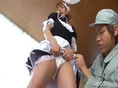 Japanese maiden plays with twat