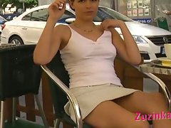 Pretty czech zuzinka in basic instinct style