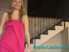 Young giggling amateur czech blonde going for it