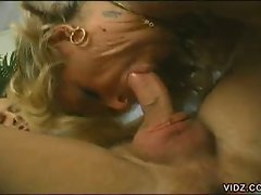 Blonde granny fills mouth with young dude's hard cock