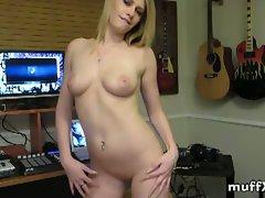 Slutty blonde babe allie james shows her nice pussy