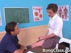 Schoolgirl sells herself to the teacher for grade