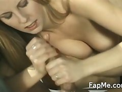 Busty blonde babe gives handjob outside