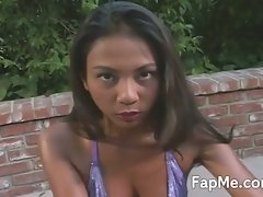 Horny asian slu fapping guy's cock