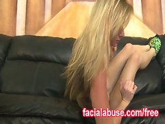 Cute teen blonde brutal throatfuck on the couch