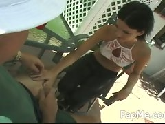 Cute girl giving an amazing handjob outdoors