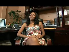 Ebony beauty gets nailed pov style on the office confessional
