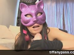 Big tit brunette sucks cock with sexy kitty mask