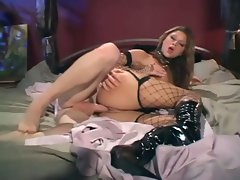 Hot blonde in corset and fishnet stockings is a nice fuck