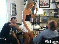 Blonde secretary teases her bosses