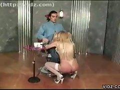 Luscious blonde whore shaving throbbing cock before hardcore fuck