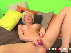 Victoria waigel masturbates with a violet toy