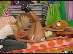 Two youngster sluts fondling each other