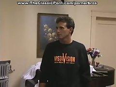 Retro reality show with threesome fuck