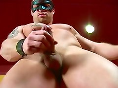 Hot masked bodybuilder jerks himself to climax