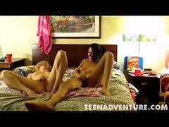 Amateur teen lesbians pussy fingering in bed