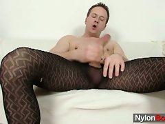 Twink clark jerks big cock in pantyhose