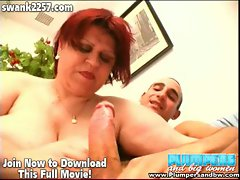 Nasty mature bbw sucks on horny studs big hard cock