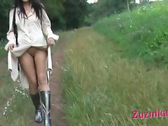 Remote controlled pussy outdoors
