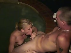 Last call lechery as horny blonde slut takes big dong outdoors