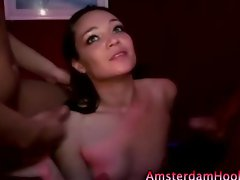 Dirty prostitute spit roast