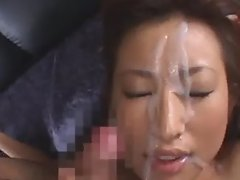 Asian gets banged and large facial