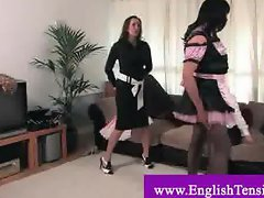 Dominatrixes subduing crossdresser sissy