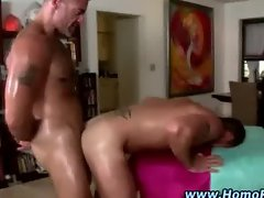 Gay fucks straight ass over table