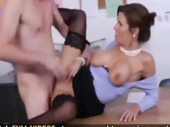 Hot cougar fucks the mail boy of the office