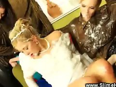 Bride fucked by bukkake lesbians wearing strapons