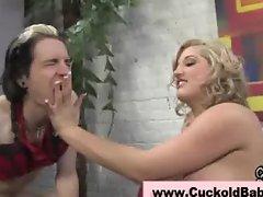 Cuckhold slut humiliates husband