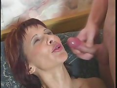 Redhead mom gets fingered, eats cock and gets drilled for a facial