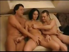 Libertine Amatrice is a brunette chick with small tits who gets fucked by two guys