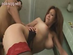 Censored Japanese video of a sexy nurse with big boobs milking cocks