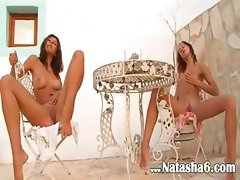 Two russian princesses naked outdoor