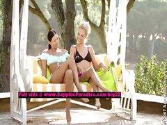 Judit and Isabella lesbian teen girls licking