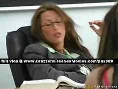 Stunning brunette teacher sleeps in the classroom