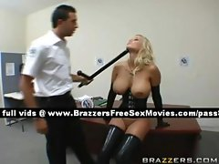 Naughty blonde slut in a police station