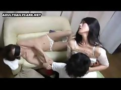 Japanese husband gets her wife to agree to a threesome and she loves it