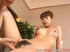 Censored Japanese clip of a hot young couple getting oiled to fuck