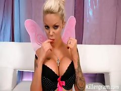 Tattooed busty blondie is every man's little fairy cock sucking dream