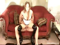 Brunette MILF rides his cock and gets fucked with her boots on